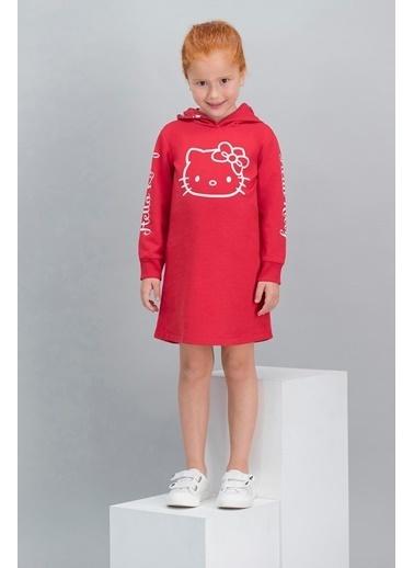 Hello Kitty Hello Kitty Lisanslı Açık Pembe Kız Çocuk Kapüşonlu Elbise Kırmızı